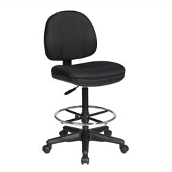 Scranton & Co Adjustable Drafting Chair with Stool Kit in Black