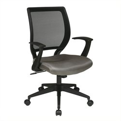 Scranton & Co Screen Back Task Office Chair with T Arms in Gray