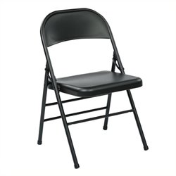 Scranton & Co Folding Chair with Metal Seat and Back in Black