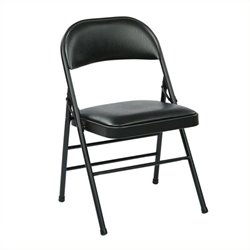 Scranton & Co Faux Leather Folding Chair in Black (Set of 4)