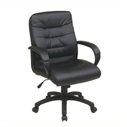 Scranton & Co Mid-Back Faux Leather Executive Office Chair in Black