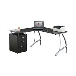 Scranton and Co L-Shaped Corner Desk with File Cabinet in Espresso