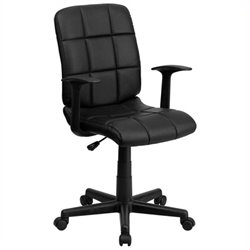 Scranton & Co Faux Leather Mid-Back Office Chair with Arms in Black