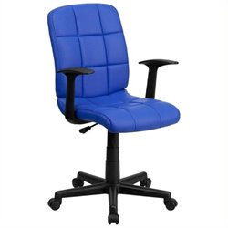 Scranton & Co Faux Leather Mid-Back Office Chair with Arms in Blue