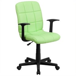 Scranton & Co Faux Leather Mid-Back Office Chair with Arms in Green