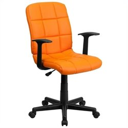 Scranton & Co Faux Leather Mid-Back Office Chair with Arms in Orange