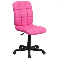 Scranton & Co Faux Leather Mid-Back Office Chair in Pink