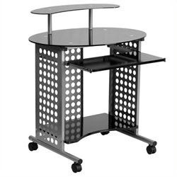 Scranton & Co Black Glass Top Computer Desk