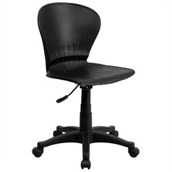 Scranton & Co Plastic Mid-Back Swivel Task Office Chair in Black