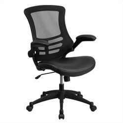 Scranton & Co Mid-Back Mesh Office Chair with Leather Seat in Black