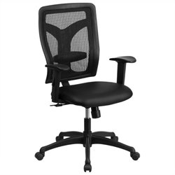Scranton & Co High-Back Leather Office Chair with Arms in Black