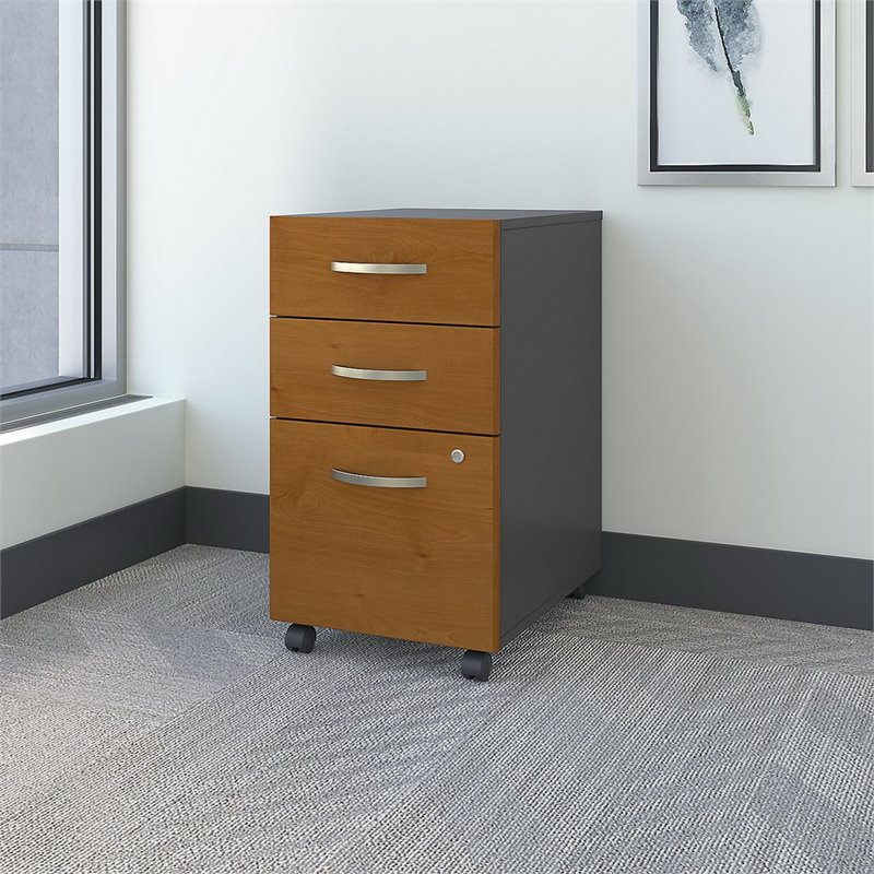 Scranton & Co 3 Drawer Mobile Pedestal (Assembled) in Natural Cherry