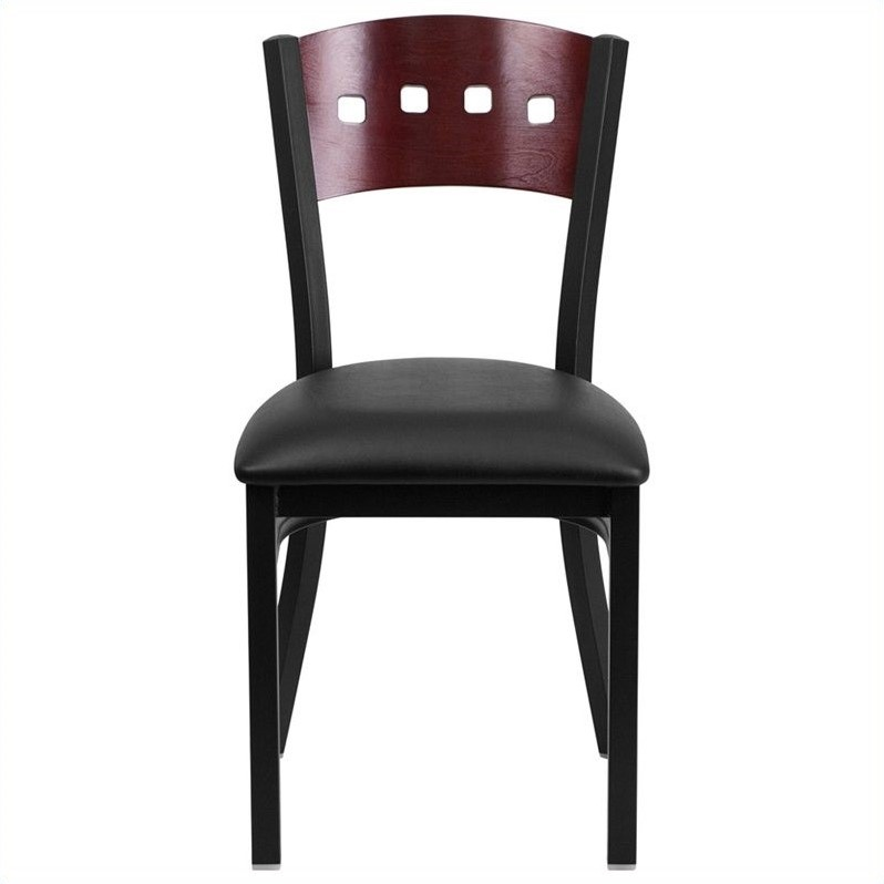 Scranton & Co Upholstered Restaurant Dining Chair in Mahogany and Black