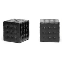 Hawthorne Collection Faux Leather Cube Ottoman in Black (Set of 2)