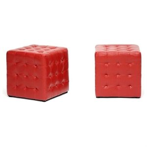 Hawthorne Collection Faux Leather Cube Ottoman in Red (Set of 2)