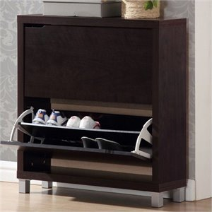 Hawthorne Collection Shoe Cabinet in Dark Brown