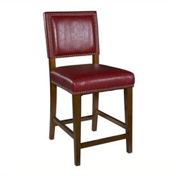 Hawthorne Collection Faux Leather Counter Stool in Brown and Red