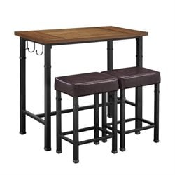 Hawthorne Collection 3 Piece Pub Set in Black