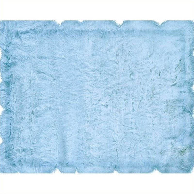Hawthorne Collection 3' x 5' Faux Sheepskin Area Rug in Blue