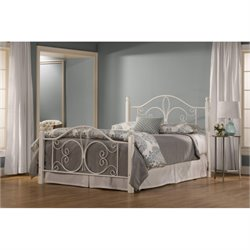 Hawthorne Collections Queen Metal Bed in Textured White