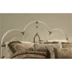 Hawthorne Collections Twin Metal Spindle Headboard in Antique White