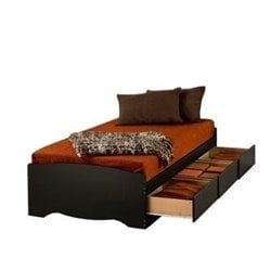 MER-1183 Prepac Black Sonoma Platform Storage Bed with 6 Drawers