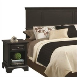 MER-1183 2 Piece Panel Headboard Bedroom Set in Black