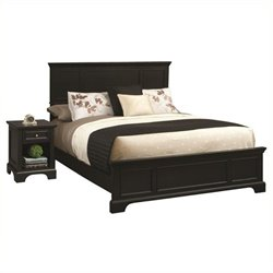MER-1183 2 Piece Panel Bedroom Set in Black
