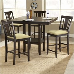 Hawthorne Collections 5 Piece Square Dining Set in Dark Espresso
