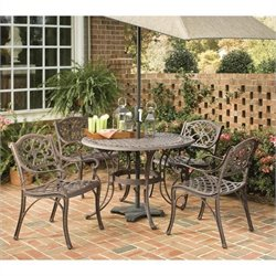 MER-1183 Home Styles Biscayne 5 Piece Metal Patio Dining Set in Bronze