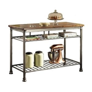 Hawthorne Collections Kitchen Island in Caramel and Gray