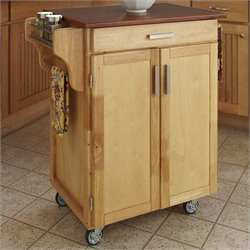 Hawthorne Collections Wood Top Kitchen Cart in Natural and Oak