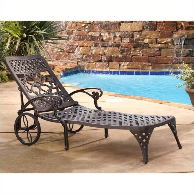 Hawthorne Collections Patio Chaise Lounge Chair In Bronze