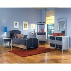 Hawthorne Collections 4 Piece Full Bedroom Set in Silver and Navy