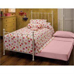Hawthorne Collections Twin Metal Spindle Bed with Trundle in White