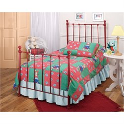 MER-1183 Molly Twin Poster Bed in Red