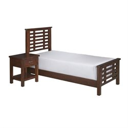 Hawthorne Collections 2 Piece Twin Wood Panel Bedroom Set in Chestnut