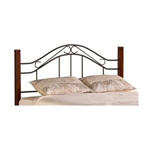 MER-1183 Spindle Headboard with Rails in Cherry and Black