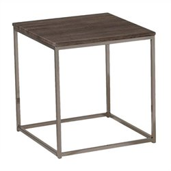 Atlin Designs Square End Table in Walnut and Brushed Nickel