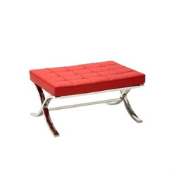 Atlin Designs Tufted Faux Leather Ottoman in Red
