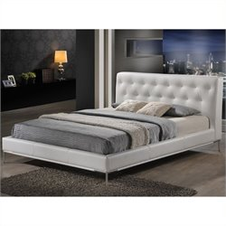 Atlin Designs Faux Leather Platform Bed in White