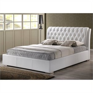 Atlin Designs Faux Leather Tufted Platform Bed in White (1)