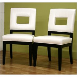 Atlin Designs Leather Dining Chair in White (Set of 2)