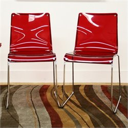 Atlin Designs Acrylic Dining Chair in Red (Set of 2)