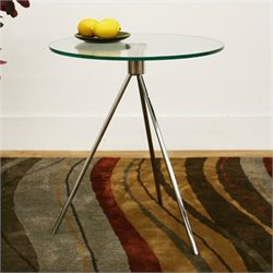 Atlin Designs Round Glass Top End Table and Brushed Nickel