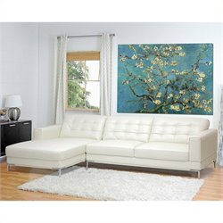 Atlin Designs Leather Left Facing Sectional in Ivory