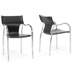 Atlin Designs Faux Leather Dining Chair in Black (Set of 2)