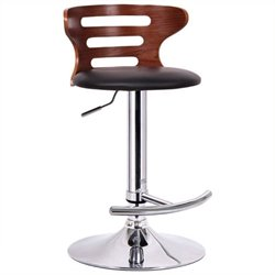 Atlin Designs Adjustable Swivel Faux Leather Bar Stool in Walnut