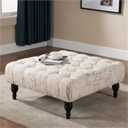 Atlin Designs Square Upholstered Ottoman in Beige Print