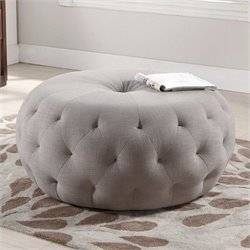Atlin Designs Round Upholstered Ottoman in Beige